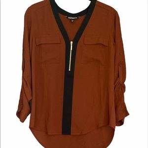 Express Brown with Black Trim Zipper 3/4 Sleeve
